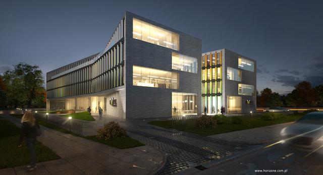 Bryła biurowca Ericpol w Łodzi, projekt pracownia architektoniczna Horizone Studio, współczesna architektura Łodzi